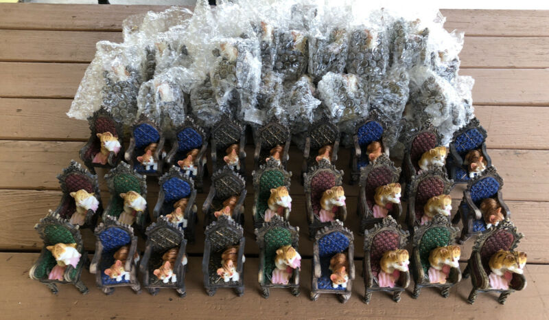 Wholesale Job Lot Of 71 Pcs. 4 inch tall miniature cats on chairs assorted...