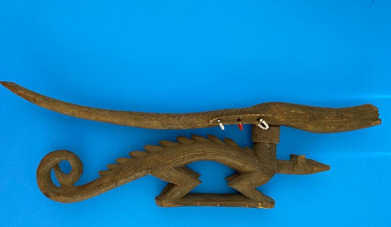 Vintage African Handmade Wooden Beaded Antelope Pangolin Headdress Sculpture