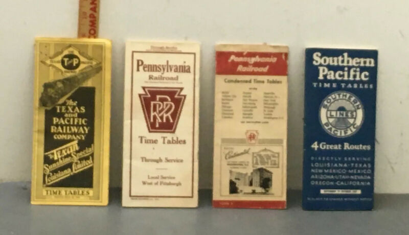 Lot Of (4) Railroad Timetables From 1931/1957. PA/Texas Pacific/Southern Pacific