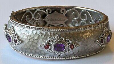 Gabriel & Co. Sterling Silver Amethyst Garnet Wide Bangle -
