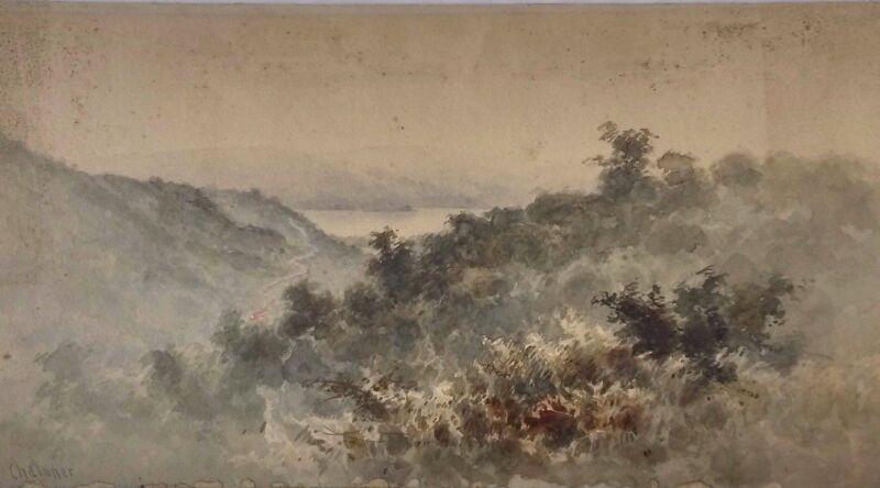 Original Massachusetts Artist Walter Chaloner (1852-1922) W/c Landscape W/ Lake