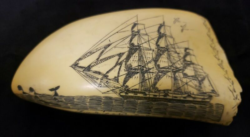 MYS ARTEK REPLICA SCIMSHAW WHALE TOOTH TALL SHIPS AS PICTURED