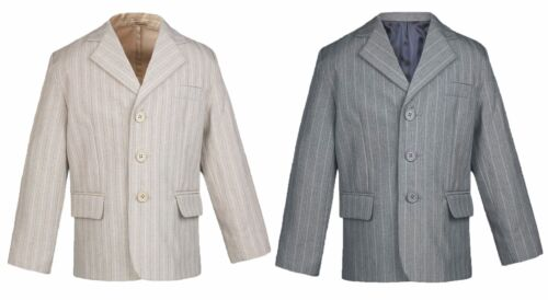 Baby  Boy Teen Event Party Tuxedo Suit Pinstripe Taupe or Gray Jacket Sm-20