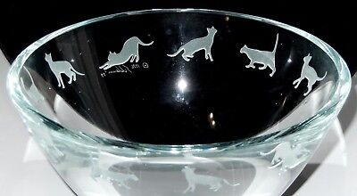 Stephen Schlanser CAT Glass Bowl Clear Etched Kitty Cats Signed 7in Vintage 1996