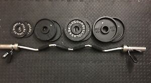 EZ CURL BAR + 55 LBS OLYMPIC WEIGHTS