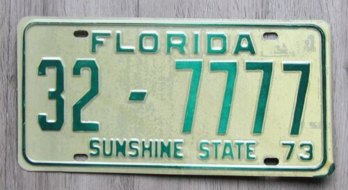 1973 Florida License Plate Indian River County Tag 32-7777