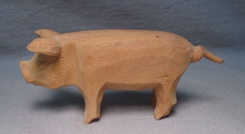 Vintage Hand Carved / Whittled Wood Primitive Folk Art Pig Carving