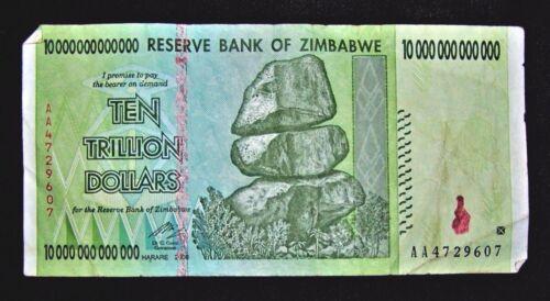 1  x Zimbabwe 10 trillion dollar banknote/2008/AA -LOWER GRADE / VERY USED