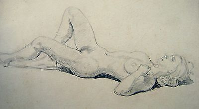 FIGURE STUDY A RECLINING NUDE WITH HAND BEHIND HAIR PENCIL ENG SCH  C1930
