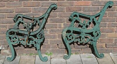 Cast Iron Green Lion Head Bench Ends Good Condition