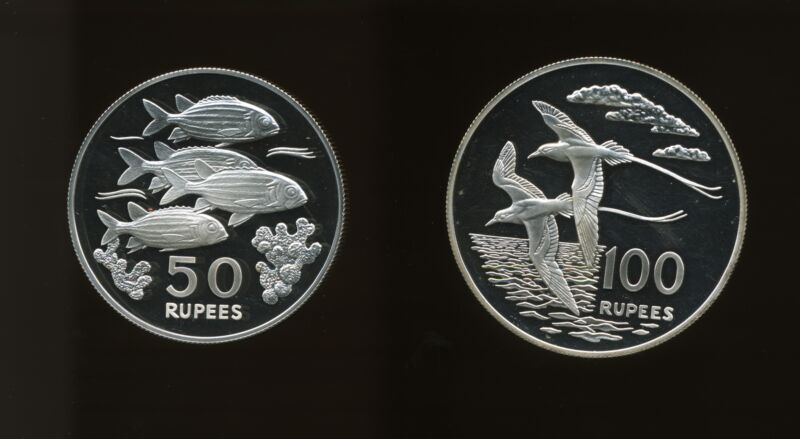 Seychelles 1978 World Wildlife Fund Proof Silver 50 & 100 Rupees (Lot of 2)