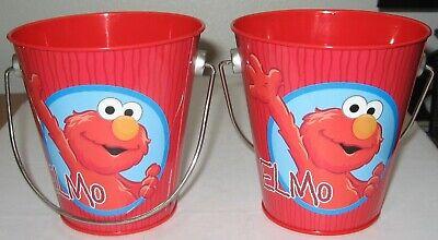 Sesame Street Bucket Pail (Elmo Metal Pail Bucket Metal Handle X Two 2009 Sesame Street)