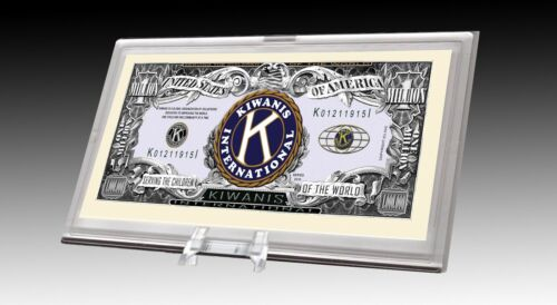 Kiwanis Limited Edition Novelty Dollar Bill in Desk Display Currency Stand