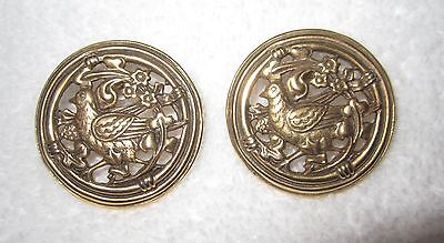 MMA Museum Partridge Earrings Bird Antique Gold Tone NY Pierced Ornate Superb!
