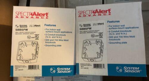 Lot of two! System Sensor SpectrAlert Advance SBBSPW white wall mount