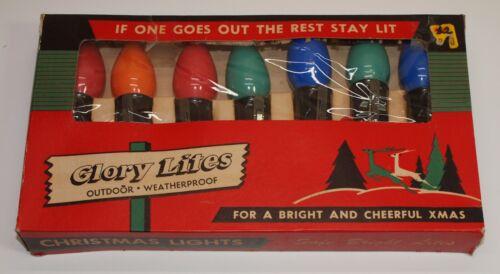 Vintage Christmas GLORY LITES Multi Color 7 Light String Set w/ Box
