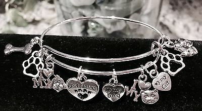 Dog & Cat Lovers Special Bangle with*9 Silver charms* Expandable Silver Bracelet
