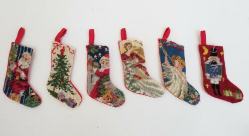 6 pcs PETIT POINT NEEDLEPOINT EMBROIDERY MINIATURE CHRISTMAS ORNAMENT STOCKING