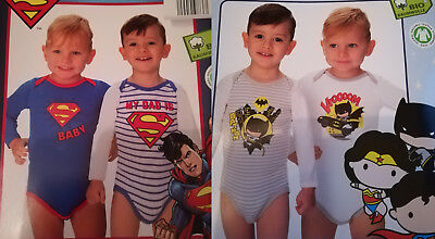 2er Pack Baby Body's Supermann oder Justice League 62/68 74/80 86/92 98/104 ()