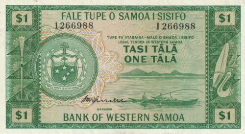 Vintage West Samoa Banknote 1967 1 Tala Pick 16c Not a Reprint Crisp US Seller