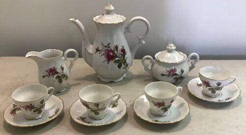 13 pc Vintage Ucagco Old Moss Rose Footed Demitasse Tea Set Cups Saucers