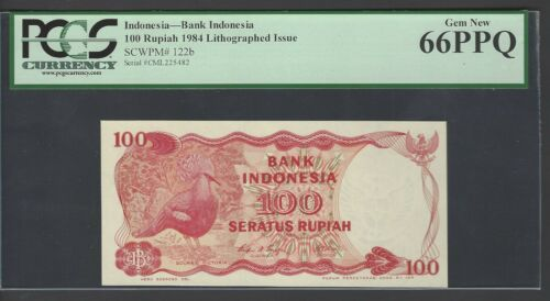 Indonesia 100 Rupiah 1984 Lithographed Issue P122b Uncirculated Graded 66