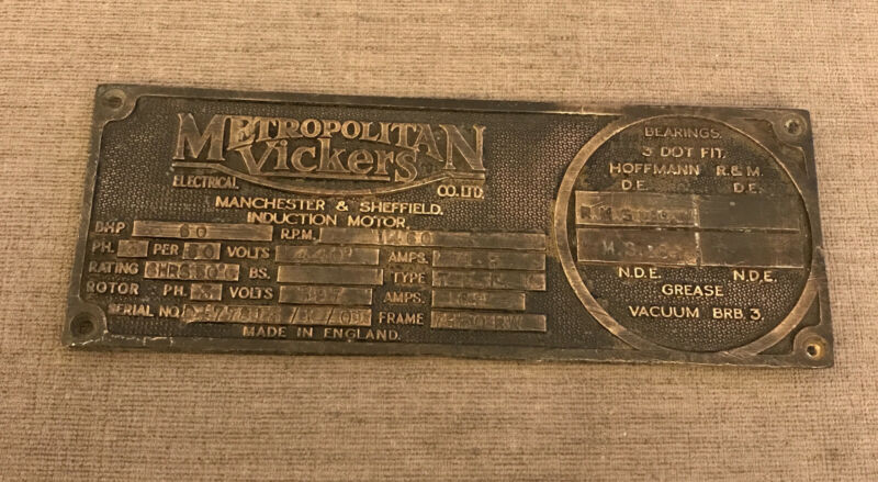 Vintage Metropolitan VICKERS Industrial Induction Motors Machine Plaque/Sign