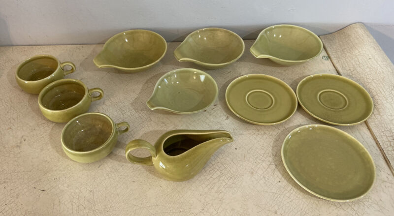 Russel Wright Steubenville Chartreuse Green Mid Century Modern Lot 11 Piece