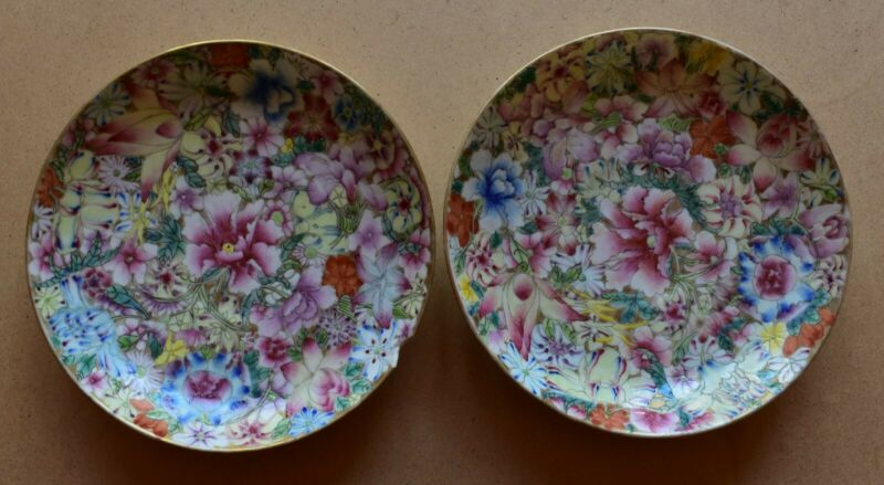 A pair of antiqueChinese millefleurporcelaindishes,20th century