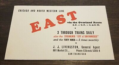 Chicago North Western Line City of SanFrancisco Steamliner Vintage Train Blotter