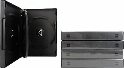 (5) DV4R27BK Black 4 Disc Capacity 27mm DVD Boxes Replacement Cases Plastic