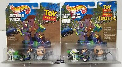 Lot of 2 1998 Hot Wheels Toy Story Action Packs w/ 1 Rare International Package