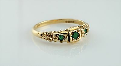 Vintage 9ct Yellow Gold Victorian Style 3 Stone Emerald Ring - Size P