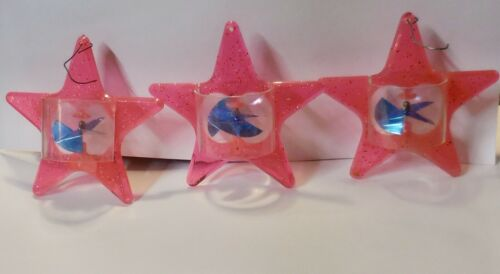 3 Pink Star Christmas tree Twinkler Spinner ornaments Tinkle toy co.
