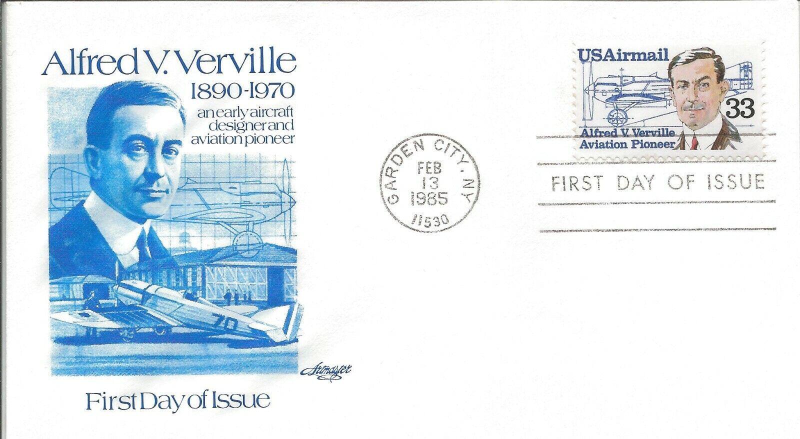 1985 FDC C113 Alfred V. Verville 33 Airmail U/A Artmaster Aviation - $1.75