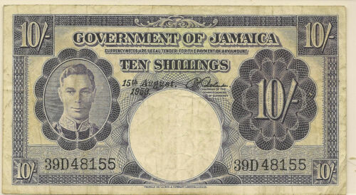 1953 JAMAICA 10 TEN SHILLINGS ~ VG ~ PRICED RIGHT! #155