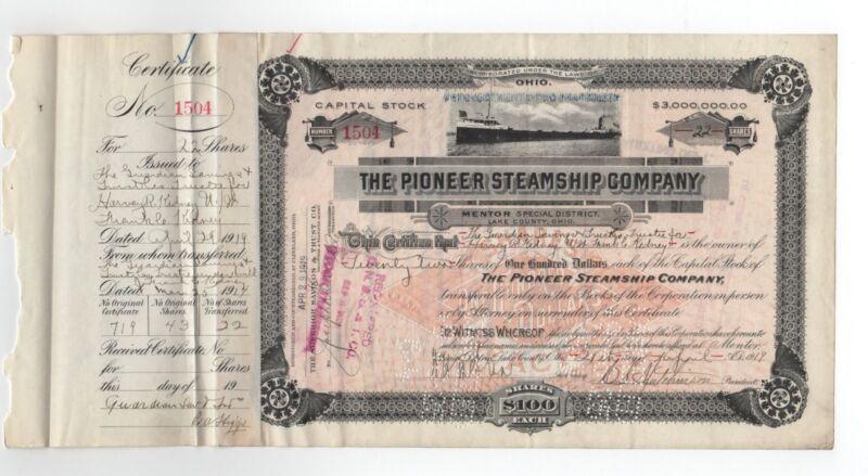 1919 Pioneer Steamship Company Stock Certificate