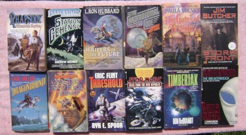 Lot of 12 Science Fiction / Fantasy Paperback Books ERIC FLINT, JIM BUTCHER