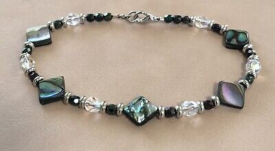 """Vintage Mother Of Pearl Clear Crystal Aurora Borealis Beaded Ankle Bracelet 9.5"""""""