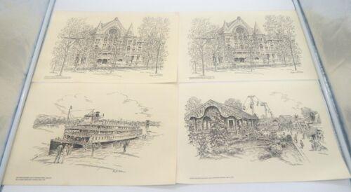 Caroline Williams Vintage Set of (4) Iconic Landmarks Cincinnati Ohio Placemats