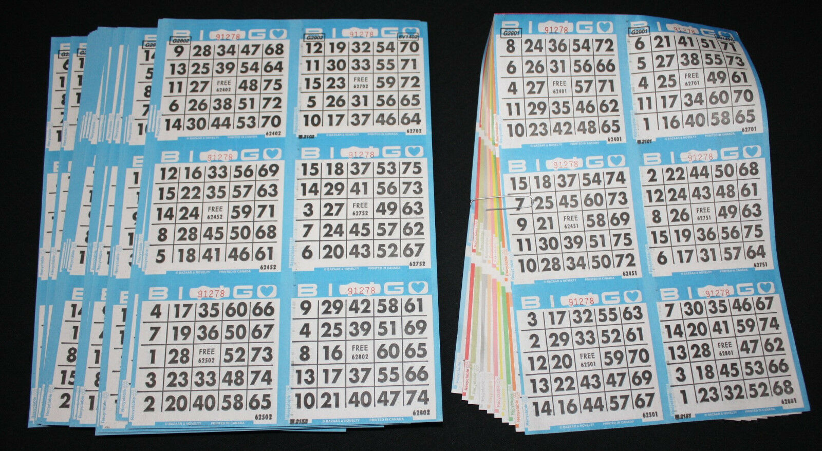 bingo paper You will receive 200 books – 5 colors in each book with same color rotation in all books there is an example pictured of these types of cards above.