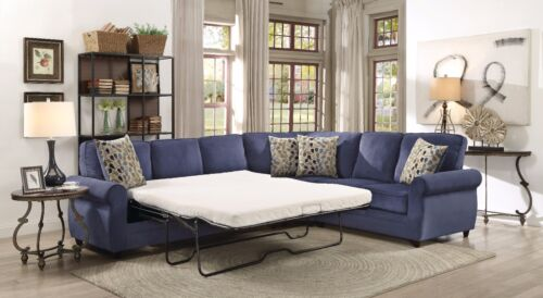 Blue Chenille Queen Sleeper Sofa Sectional Living Room Furniture