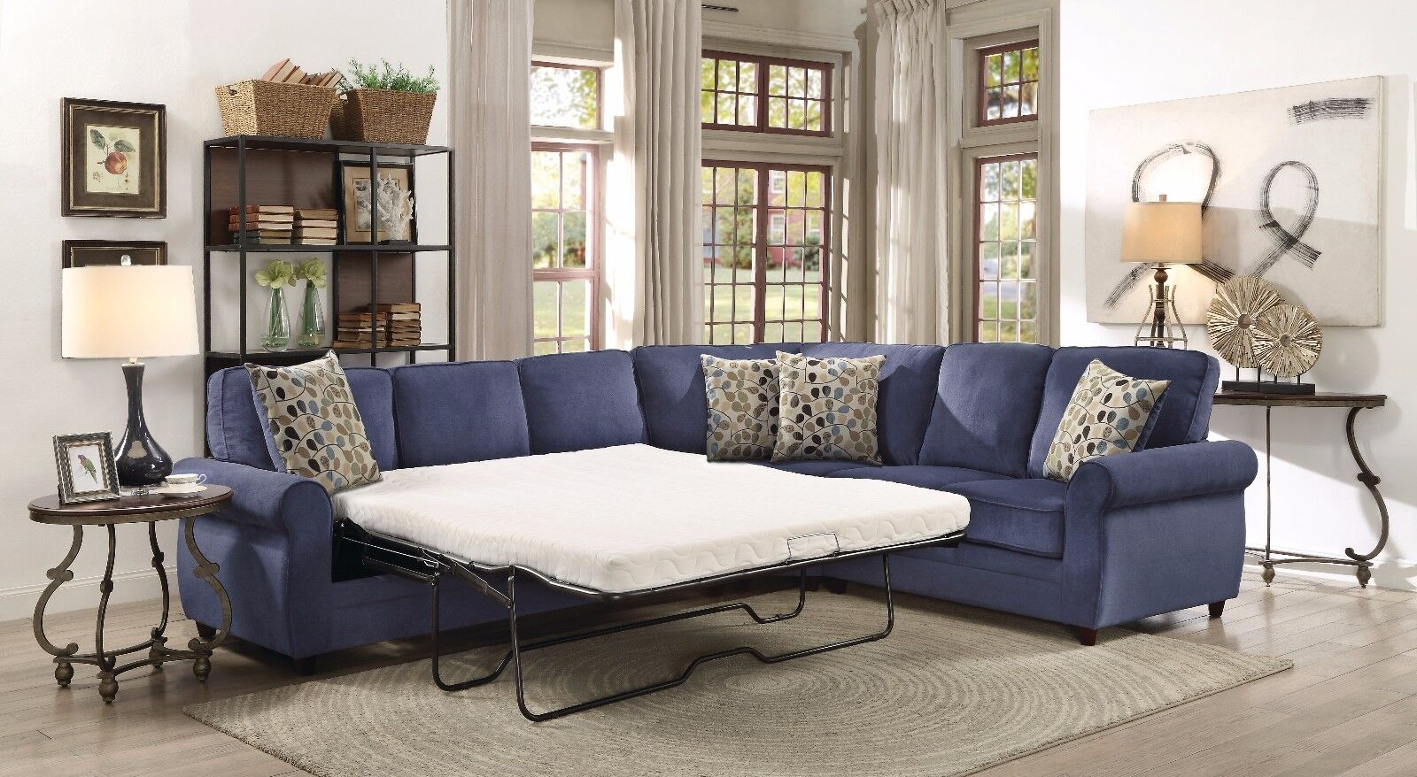 BLUE CHENILLE QUEEN SLEEPER SOFA SECTIONAL LIVING ROOM FURNI