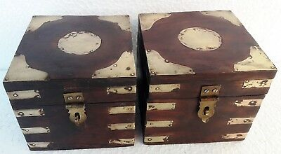 Wooden Box Hand Made Brass Fitted Trinket Jewelry Storage Box Art