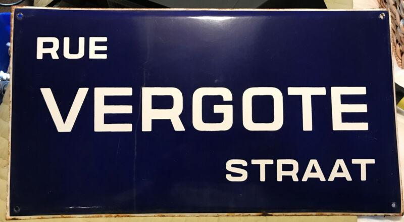 "BELGIUM BRUSSELS VINTAGE ST. SIGN ""RUE VERGOTE STRAAT"" 1910-20s ENAMEL PORCELAIN"