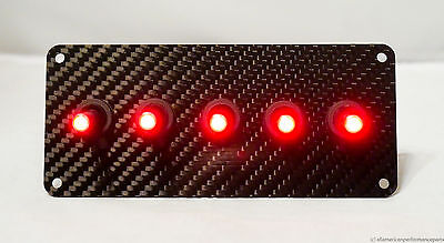 Authentic Carbon Fiber Panel W Led Toggle Switches - Red
