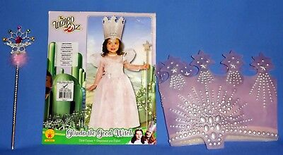 Wizard of Oz Glinda the Good Witch Costume Dress Girls XS 2-4;Crown;Wand;NEW LOT](Glinda The Good Witch Costume Girls)