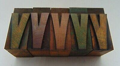 Vintage Printing Letterpress Printers Block Lot Of 5 Letter V Wood Type