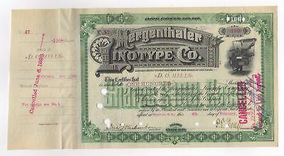 Ogden Mills - Mergenthaler Linotype Co. Stock Certificate