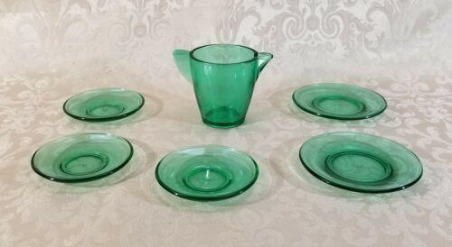 Vintage Akro Agate Vaseline Uranium Transparent Green Glass Children Dishes
